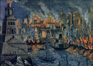 burning of library Alexandria