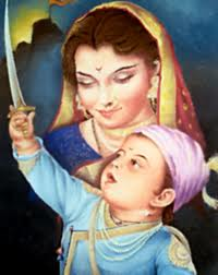 Boy Shivaji his Mother Jijabhai