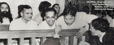 left to right) Nathuram Godse, Narayan Apte and Vishnu Karkare on trial