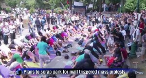 Turkish protesters hold mass yoga demo