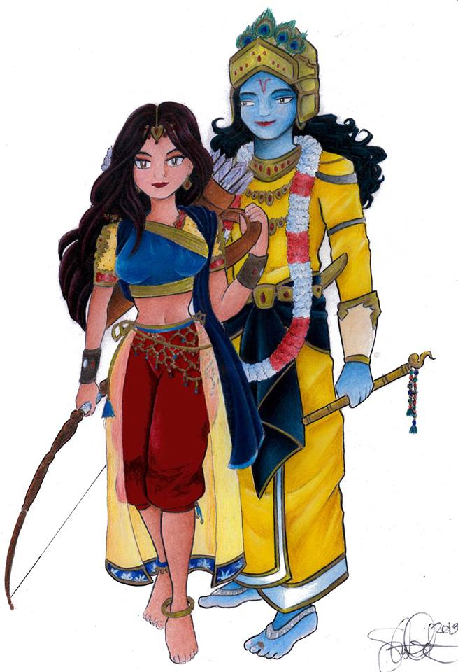 Satyabhama and Krishna