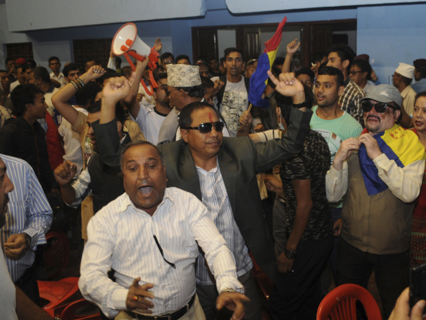 Protesters throw chairs at Nepalese deputy PM, demand country become a Hindu nation