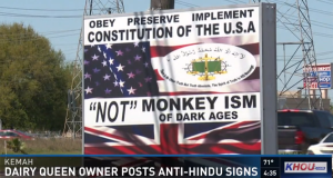 HHR Video : Dairy Queen owner displays anti-Hindu sign