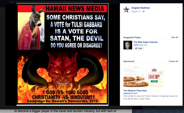 Hawaii GOP disavows their bigoted candidate for launching a holy war against Hindu Rep Tulsi Gabbard