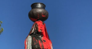 Columbus day Supporters Vandalize Indigenous Statue With Red Paint and Cross
